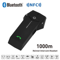 Venta al por mayor 1000m BT NFC FM Radio Función Casco de la motocicleta Bluetooth Intercom Headset Interphone auricular para teléfono / GPS / MP3