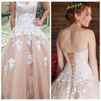 wunderschöne weiße quinceanera kleider großhandel-Wunderschöne Champagner-Tüll lange Ballkleider mit weißen applizierten Perlen Schatz oben süß 16 Kleid Quinceanera Kleid