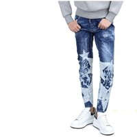 Wholesale Fashion Foot Wear - Wholesale- 2017 new stars D20 style High quality button fly hole fall Slim feet 28-36 yards worn splash ink personality men's jeans fashion