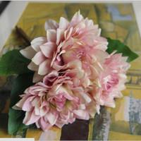 Wholesale Dahlia Artificial Flowers - 28cm Artificial Silk Plant Fake Dahlia Bouquet Real Touch Flower Wedding Flower Floristry Party Home Decorative 4 Colours