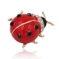 Wholesale Metal Ladybug - Wholesale- Adorable Enamel Ladybug Brooch Pin Metal Animal Crystal Rhinestone Women Garment Fashion Jewelry 2016