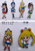 Wholesale Metal Pendants Mixed - Mixed New 50 pcs Japanese anime Sailor Moon Enamel Metal Charms Jewelry Making Pendants Charms AT79