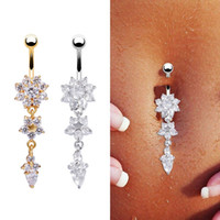 Wholesale Navel Piercing Crystal - Flower Crystal Rhinestone Navel Belly Button Ring Bar Dangle Body Piercing Jewelry