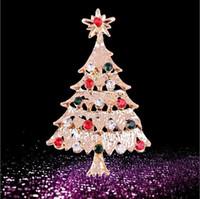 altın kristal yılbaşı ağacı toptan satış-Toptan-Xmas Ağacı Kristal Altın Kaplama Broş Pin Noel Hediye Takı Büyüleyici