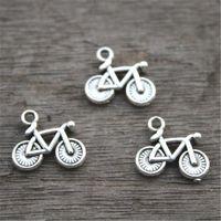pingentes de bicicleta encantos venda por atacado-30pcs - Encantos de bicicleta, pingente charme de bicicleta antigo prata tibetana antigo, 13x15mm