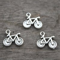 encantos de la bicicleta colgantes al por mayor-30pcs - Encantos de la bicicleta, pendiente encantador del encanto de la bici de la plata tibetana antigua, 13x15m m