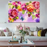 Wholesale 3d Rose Wall - 2016 diy 5d diamond Painting Rose flower gift 3D diamond embroidery mosaic diamonds wall stickers home decor
