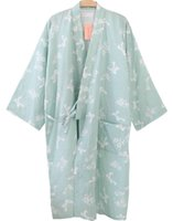 Wholesale Flower Stories - Wholesale- Shanghai Story Women Cotton Three-quarter Sleeves Kimono Bathrobe With Pockets Robe Printed Flower Pajamas 4 Color