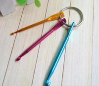 Wholesale Embroider Keychain - 3PCS Set 3MM 4MM 5MM Keychain Hooks DIY Multicolour Crafts Knitting Needles Mini Aluminum Crochet Hook 100Set