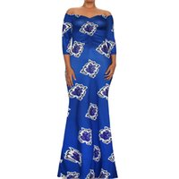 Wholesale Indian Clothing For Women - 2017 African One Word Dresses for Women Printing Dashiki Dress Robe Femme Casual Indian Clothing Plus Size Sundress