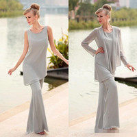 Wholesale Cheap Bridal Pant Suit - 2018 Gray Three Pieces Grey Mother's Pants Suits Beaded Long Chiffon Formal Mother of the Bridal Suits with Long Sleeves Jacket cheap