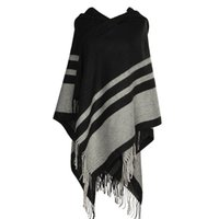 Wholesale Womens Black Cape - New Womens Tassel Poncho Shawl Ladies Knitted Hooded Wrap Cape Winter Scarf Blanket Soft For Womens Autumn Winter Scarves
