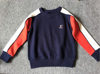 Wholesale Baby High Neck Tops - Brand new children clothing suit blue baby tops + long pants 2pcs outdoor sports baby clothing sets high quality thick cotton baby clothes