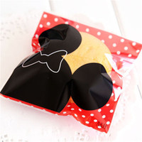 Wholesale Paper Mice - Wholesale-200pcs Plastic Cookie Zip Lock Biscuit Candy Sweets Ziplock Mouse Baking Cartoon Bottle Pattern Self Adhesive Bakery Candy Bag