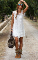 Wholesale Womens Dresses Vintage Cocktail - Sexy White Lace Dress Womens Summer Sleeveless Mini Dresses Evening Party Cocktail Short Dress Work Wear for Woman S-2XL