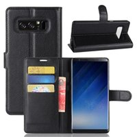 Wholesale Transparent Flip Cover Phone - Anti-Shock Protective Leather Case Flip Case Cover With Card Tray Mobile Phone Stand Holder For Samsung Note 8