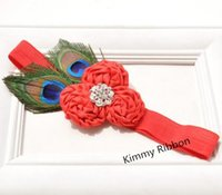 Wholesale Rosette Headband Feather - 50pcs Peacock Feather Rosette Headband