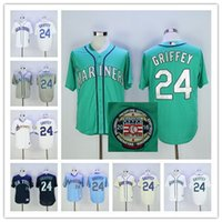 Wholesale Griffey S - Ken Griffey Jr Jersey with Number Retirement & 2016 Hall Of Fame Patch MLB Seattle Mariners 1979 Turn Back retro jerseys Shipping Free