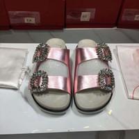 Wholesale Pink Rhinestone Sandals - Free shipping aummer 2017 fashion rhinestone buckle pigskin women's flat slippers mule sandals