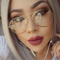 Wholesale Vintage Optic Glass - Classic Clear lens Women Men Mirror Sunglasses Brand Designer Fashion Optics transparent Eyeglasses Sun Glasses Vintage Cheap