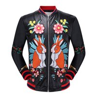 Wholesale Hand Spliced - The new men's hand embroidered flowers Cupid universe leather jacket embroidered tiger motorcycle jacket coat collar male literati leisure s