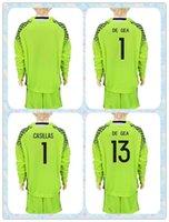 Wholesale Spain Long Sleeve - Fast 2017 2018 Spain Soccer Jersey Uniforms Kit Youth Kids #1 Casillas #1 de gea #13 de gea 8 KOKE Goalkeeper Lime Green Long Sleeve Jerseys
