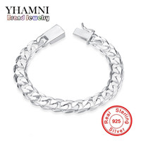 Wholesale Original 925 Silver Chain - YHAMNI Original Fashion 925 Jewelry Pure Silver charm Bracelet 925 silver jewelry 10mm Square Lock Bracelet H032