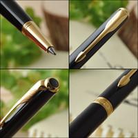 Wholesale ball point pen black - Parker Sonnet Series BLACK NEW Golden Arrow Clip Ball point Pen