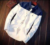 Wholesale Handsome Man Coat - Spring men's shirt fashion students summer coat long sleeve Splicing color handsome men's clothing Bottoming shirt
