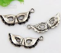 Wholesale Silver Mask Charms - Hot sales! 200pcs Antique Silver Zinc Alloy Mask Charms Pendants 27x11mm (003131)