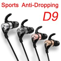 Wholesale Mixing Sounds - D9 Sports Wireless Bluetooth 4.1 Earphone HIFI HD SOUND Anti-sweat Metal Magnet Headset In-Ear Running Headphones With Mic for Smart Phones