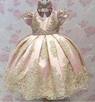 Wholesale 5t dresses sale resale online - Hot Sale Newest Pink Short Sleeve Flower Girl Dresses Satin Appliques Kids Pageant Dresses Kids Party Dress