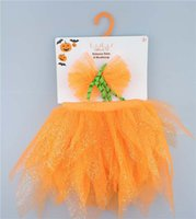 Wholesale Toddler Party Dress Headbands - New baby hair accessories halloween pumpkin Girls bow Headbands sequin Tutu Skirts 2pcs Toddler Party Dress Infant Hair Accessory A1091