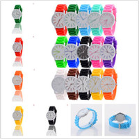 Wholesale Children Watches Geneva - Luxury Brand Geneva Watch Men Women Unisex Silicone Rubber Candy Jelly Quartz Wristwatch Students Children Christmas Birthday Gift Watches