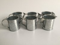 Wholesale Tin Water Pots - Rustic Mini watering Cans Small Pots tin watering cans Small Easter Eggs Pots Silvery Color Cheap SF-006