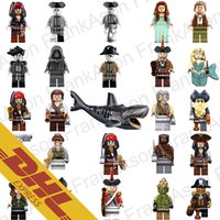 Wholesale Wholesale Sharks Toys - 100pcs Mix Lot Pirates of the Caribbean Minifig Pirate Figures Captain Jack Sparrow Ghost Shark Figure Mini Building Blocks Figures Toy
