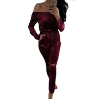 Wholesale Wholesale Lady Rompers - Wholesale- Fashion Women Jumpsuit Off Shoulder Shiny Velvet Bodysuits Rompers Sexy Long sleeve bodycon Ladies Evening Night Party Playsuits