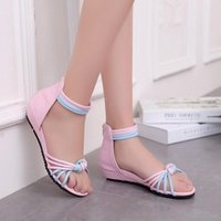 Wholesale Size 33 Wedges - High Quality Women Wedge Sandals Mid Heel Zipper Open Toe Cover Heel Mixed Colors Outdoor Sandals Fashion Women Shoes Size 33-43