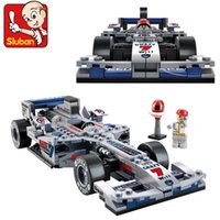 Atacado- J653 F1 Racing Car Plastic Building Block Set Children Puzzle Enlightenment Brinquedos Assentados Kids Gift