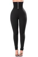 Wholesale Casual Corsets - Hot Sale Solid Black Color Fitness Leggings Summer Autumn Full Length Pants Gothic Leggins High Waist Corset Belt Legging