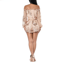 Wholesale women leotard club - Sexy Sequin Playsuit Women Strapless Short Mesh Bodysuit Summer Beach Club Elegant Jumpsuit Rompers Embroidery Leotard