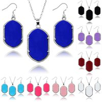 Wholesale Chandelier Necklaces Wholesale - Hot sale Kendra Scott Jewelry sets Solid Acrylic rhombus pendant Necklaces Chandelier Earrings Sets Silver&Gold Plated Jewelry Set For Women