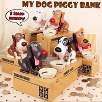 Wholesale Money Eating Piggy Bank - Creative Automatic Eating Coin Hungry Dog Piggy Bank Money Box piggy bank Eat Money Save Pot Saving Coin Box I Love money KKA2656