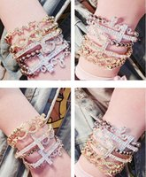 Wholesale Wholesale Alloy Rhinestone Cross Charms - New Trendy Rhinestone Inlaid Love Letter 8 Cross Pendent Elastic Woman Bracelet Female Jewelry Accessories free shipping