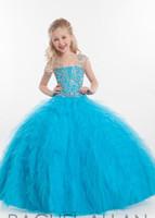 elbiseler kristal organze toptan satış-2017 Yeni Küçük Kız Için Pageant Elbiseler Halter Boncuk Kristal Balo Ruffles Organze Özel yapılmış Prenses Çiçek Kız Çocuk Örgün Önlük