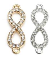 ingrosso il rhinestone dei monili dei connettori del braccialetto-100 pz / lotto oro strass di cristallo figura 8 infinity connettore pendente di fascini per gioielli fai da te braccialetto fare 10 * 33mm