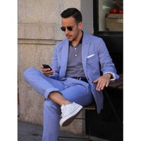 Wholesale Groom Suits For Beach Wedding - Summer Casual Mens Suits Blue Linen Suits Notched Lapel Beach Wedding Suits For Men Slim Fit Grooms Tuxedos Two Piece Groomsmen Suit