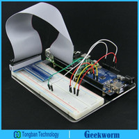 Wholesale Pin Jumpers - Freeshipping Raspberry Pi Experiment Platform, 65pcs Jumper Cable+T GPIO+Breadboard+Acrylic Panel+40 Pin Cable for Raspberry Pi 3 and UNO R3