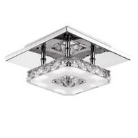 lustres de cristal au plafond moderne achat en gros de-Lampe de plafonnier à LED moderne en cristal LED 12W Décor de chandelier en acier inoxydable Parfait pour le couloir / Escalier / Chambre / Salle à manger