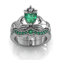 Wholesale Gold Filled Green Rings - Eternal Claddagh Ring Sets Luxury 10KT White Gold Filled 1CT Heart Green Sapphire Women's Engagement Wedding ring for Women Gift Size 5-11